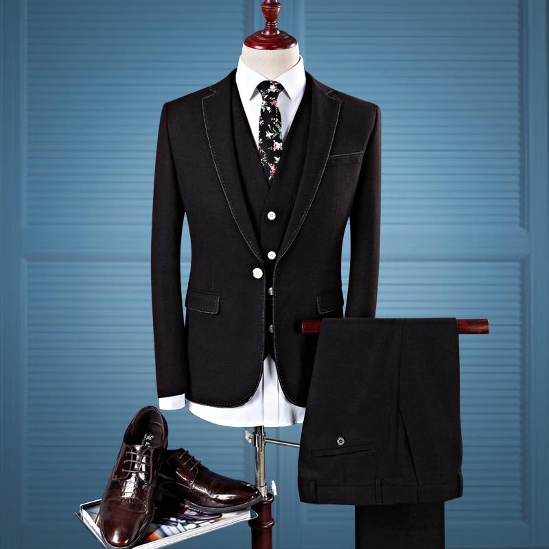 bleu D'affaires Mariage Qualité Gilet Loisirs 2017 Haute Pantalon rouge Costume De Laine veste Robe Veste Hommes Nouveau Style Noir Costumes fPdUwxq68