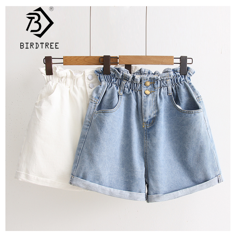 Plus Size 5XL 2019 Summer Women's Shorts Jeans High Waist With Pockets Blue Jeans Elastic Waist Loose Turn-down Trousers B85104X