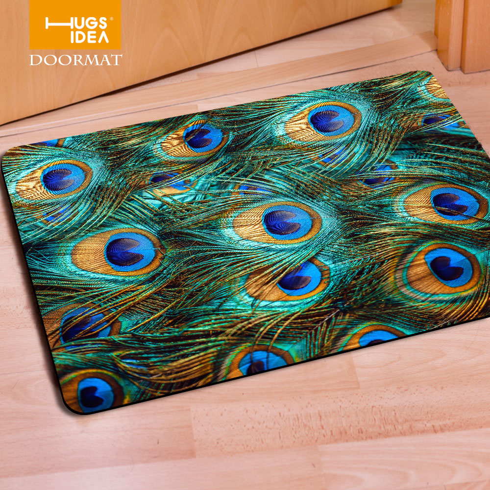 Peacock bathroom rug - Hugsidea 3d Peacock Feather Pattern Non Slip Floor Carpet Welcome Entrance Doormat Rugs For Living Room Bedroom Kitchen Home
