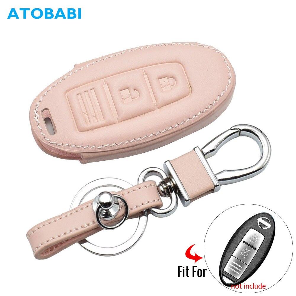 Leather Car Key Case For Nissan 350Z Almera Altima Armada Qashqai Cefiro Cube Juke Livina Remote Fob Protect Cover Keychain Bag