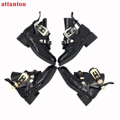 woman black ankle boots street fashion cool metal buckle decoration short boots party dress shoes autumn winter female shoes new fashion boots autumn cool