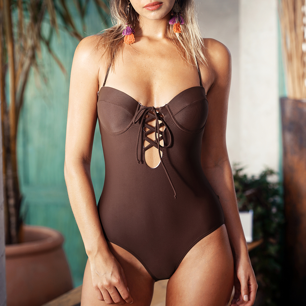 CUPSHE Slow Time Halter One-piece Swimsuit Deep V neck Bikini Set Padded Ladies Bathing Suit Swimwear with Back Cutout