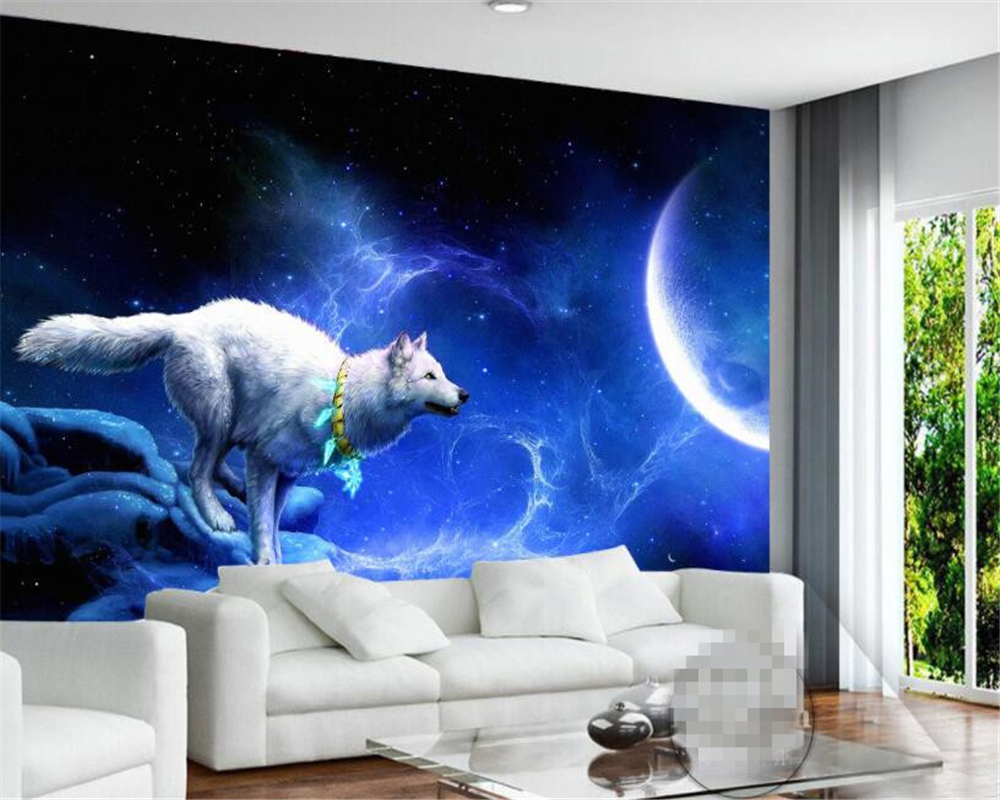 . US  9 0 40  OFF Beibehang white wolf and moon art 3d wallpaper gaming room  living room painter home decoration wall wallpaper papel de parede in
