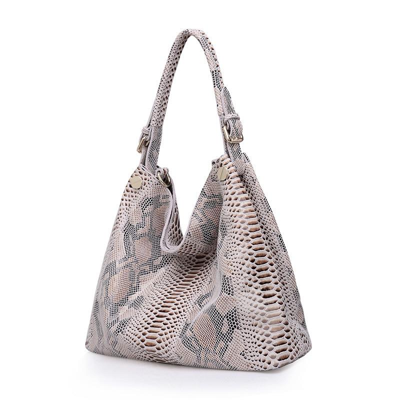Westcreek Brand Women Genuine Leather Handbags Female Classic Serpentine Prints Pattern Tote Bags Ladies Snake Messenger Bag