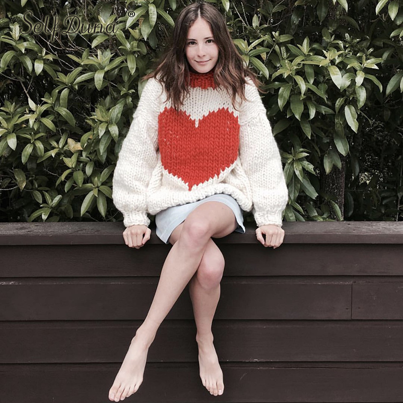 Auto Duna automne hiver demi pull à col roulé pull chaud tricot noël pull amour noir blanc femmes tricoté pull - 5