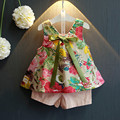 New Fashion 2016 Girls Thin Set Two-piece Set Children Floral Sleeveless Shorts and Pants Baby Set,2-7Y
