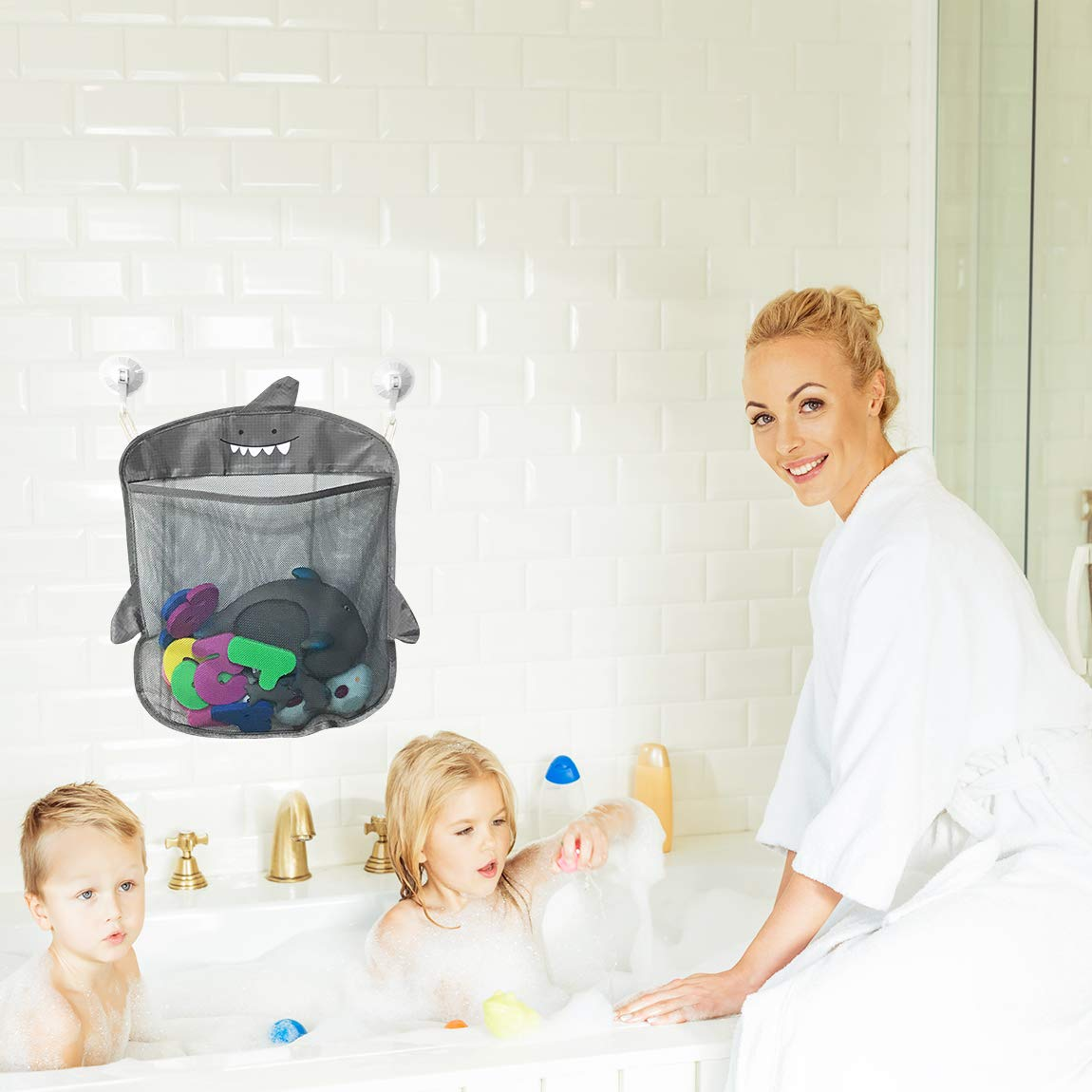 HOT Baby Bath Toys Bathroom Storage Bags Knitted Net Mesh Bag Make Up Organizer Container 39X35CM