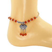 Orange Beads Ankle Bracelet Barefoot Sandals Anklets for Women Foot Jewelry Anklet CA038