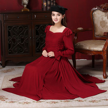 2016 palace womnen winter dress Margaret Red Retro Palace Holiday High Quality Split Large party Long Dresses Women'Clothing