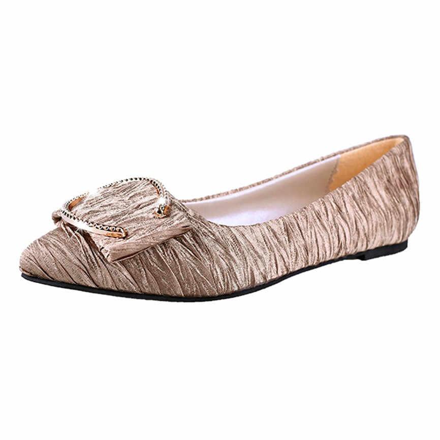 النساء السيدات الصيف المرأة موضة السيدات المعادن الضحلة واحدة شقة أشار تو أحذية غير رسمية الربيع الصيف للسيدات