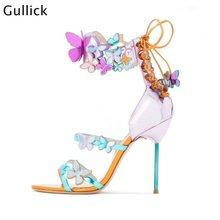 Moda borboleta colorida decoração tornozelo wraped mulher sandálias frente três tiras azuis de volta rendas até sandálias 10 cm salto alto fino