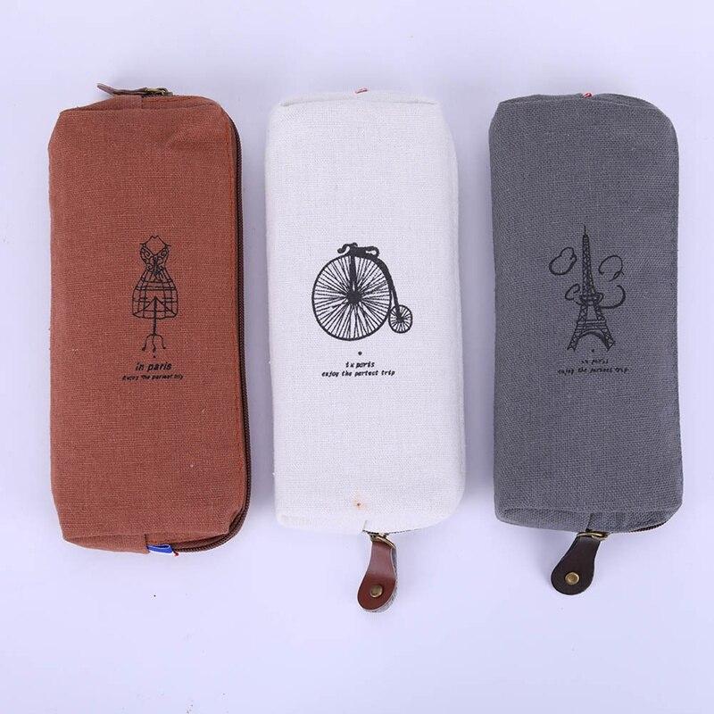 1PC Hot Sale Fashion Cute Vintage Canvas Paris Pencil Pen Case Cosmetic Makeup Coin Pouch Zipper Bag Purse Handbags mint student navy canvas pen pencil case coin purse pouch bag jun01