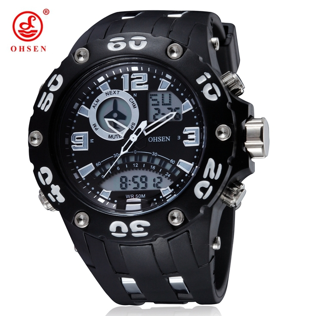 2f12b7e9df3 New OHSEN Military Watch Dual Time Men Sport Watches Alarm Date Week  Chronograph Relogio Feminino Masculino Dive Swim Wristwatch