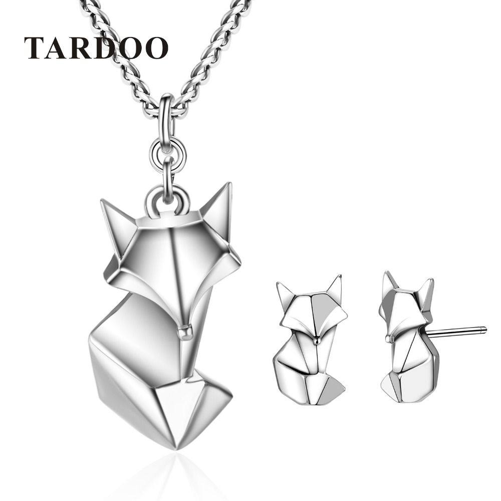 все цены на Tardoo Really 925 Sterling Silver Jewelry Sets for Women Fox Animal Necklaces and Stud Earrings Silver Cute and Sweet jewelry онлайн