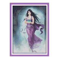JoySunday Cross Stitch Diy A Magic Woman Purple Dress Cloth Black Long Hair DMC14CT11CT Cotton Needlework