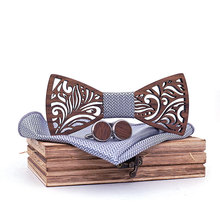 купить Wooden Bot Tie Set Handkerchief Bowtie Necktie Gift Wood Hollow Carved Novelty Ties Floral Design and Box Fashion Bowtie Suit по цене 743.8 рублей