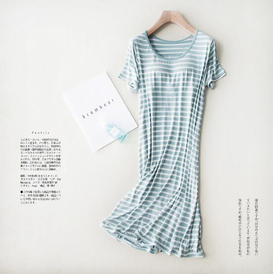 Large size nightgowns women short sleeve o-neck night dress female sleepwear nightshirt casual bra-padded cotton nightdress