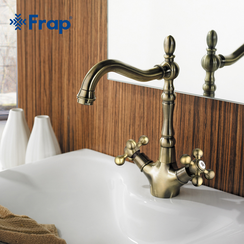 Frap Retro Style Double Handle Kitchen Faucet Tap Antique Brass Hot and Cold Water Tap 360