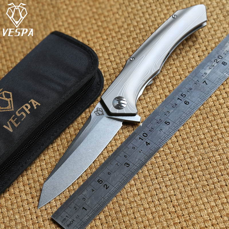 VESPA Plane S35VN blade Titanium handle Flipper ball bearing Tactical Folding knife camping survival Knives outdoor EDC tools  цены