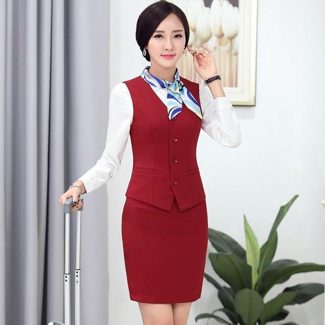 A forma Das Mulheres Ternos de Negócio com Saia e Colete Wastcoat Define Styles Uniformes Ladies Escritório Elegante Roupa Do Desgaste Do Trabalho Das Mulheres
