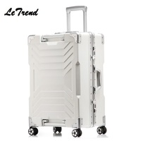 Letrend New 24 29 Inch Aluminium Frame Rolling Luggage Trolley Travel Bag 20inch Women Men Boarding Bag Carry On Suitcases Trunk