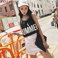 Sleeveless Black Short Shirts Ladies Summer Casual Cute Tops Crops For Summer 2018 New Summer Tops NN0207 YE