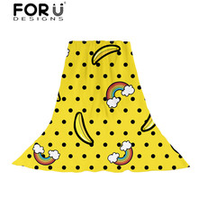 FORUDESIGNS Yellow Banana Printed Women Slik Scarves Ladies Cartoon Fruit Pattern Scarf for Teen Girl Kawaii Wraps Fashion Shawl цена в Москве и Питере