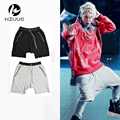 S-XL mens fashion summer 2017  justin bieber clothing drop crotch sweat jogger black/grey/khaki shorts