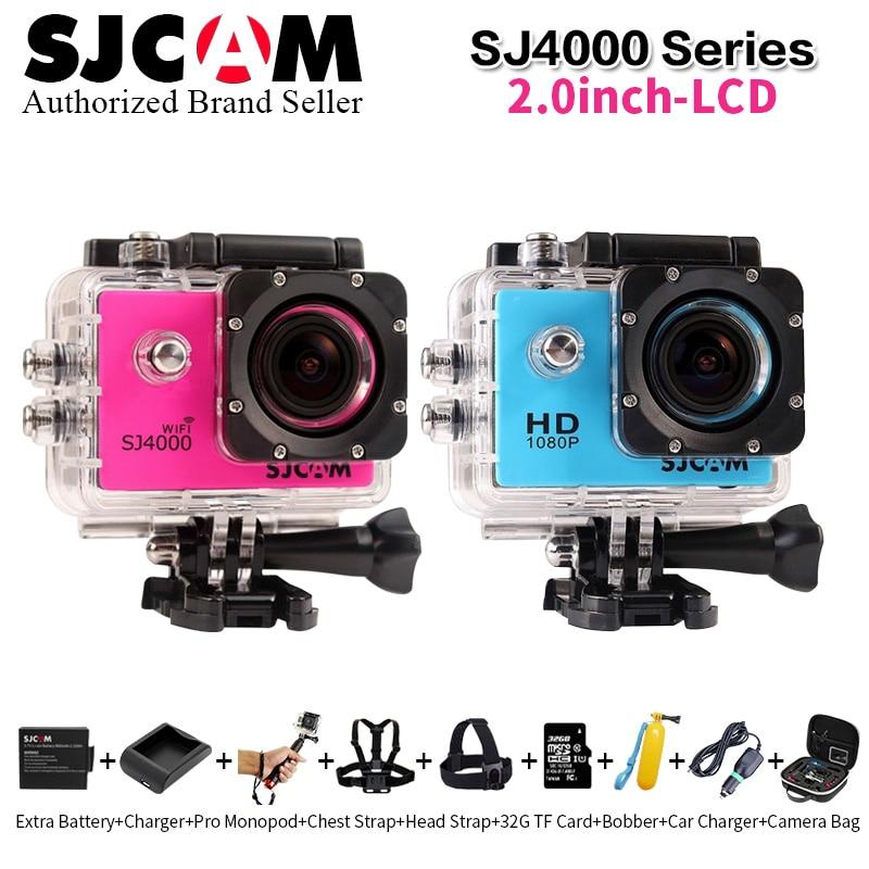 100% SJCAM SJ4000 Series SJ4000 / SJ4000 WiFi 2.0 FULL HD 1080P Sport Action Camera +32G TF card+Cam  bag+ Battery+Charger+Float original sjcam 4000 series sj4000