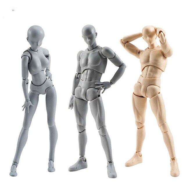 14cm 남성 여성 움직일 수있는 몸 chan 합동 액션 피규어 장난감 아티스트 아트 페인팅 애니메이션 모델 SHF 마네킹 bjd 아트 스케치 그리기