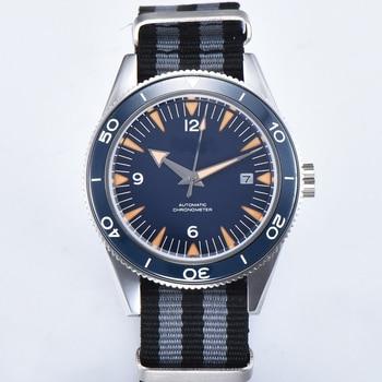 Debert Luxury Brand 41mm Clock Sapphire Crystal Blue dial Rotatable Ceramic Bezel calendar mechanical Automatic Men Watch