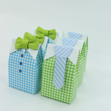 AVEBIEN 20pcs Hot Sale Cartoon Tie bow tie Birthday Baby Shower Candy Treat Bag Event Party Supplies Chocolate Paper Gift Box