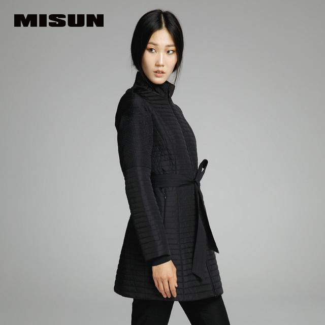 Misun 2016 cintura fina slim-médio e longo wadded mulheres jaqueta outerwear algodão-acolchoado jacket feminino
