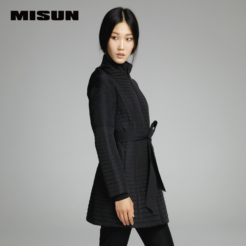 Misun  slim waist slim medium-long wadded jacket women outerwear cotton-padded jacket female