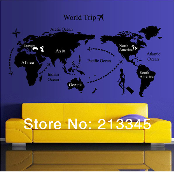 Fundecor world map wall decal stickers living room study fundecor world map wall decal stickers living room study removable wallpaper wall decorations for the home 6643 in wall stickers from home garden on gumiabroncs Image collections