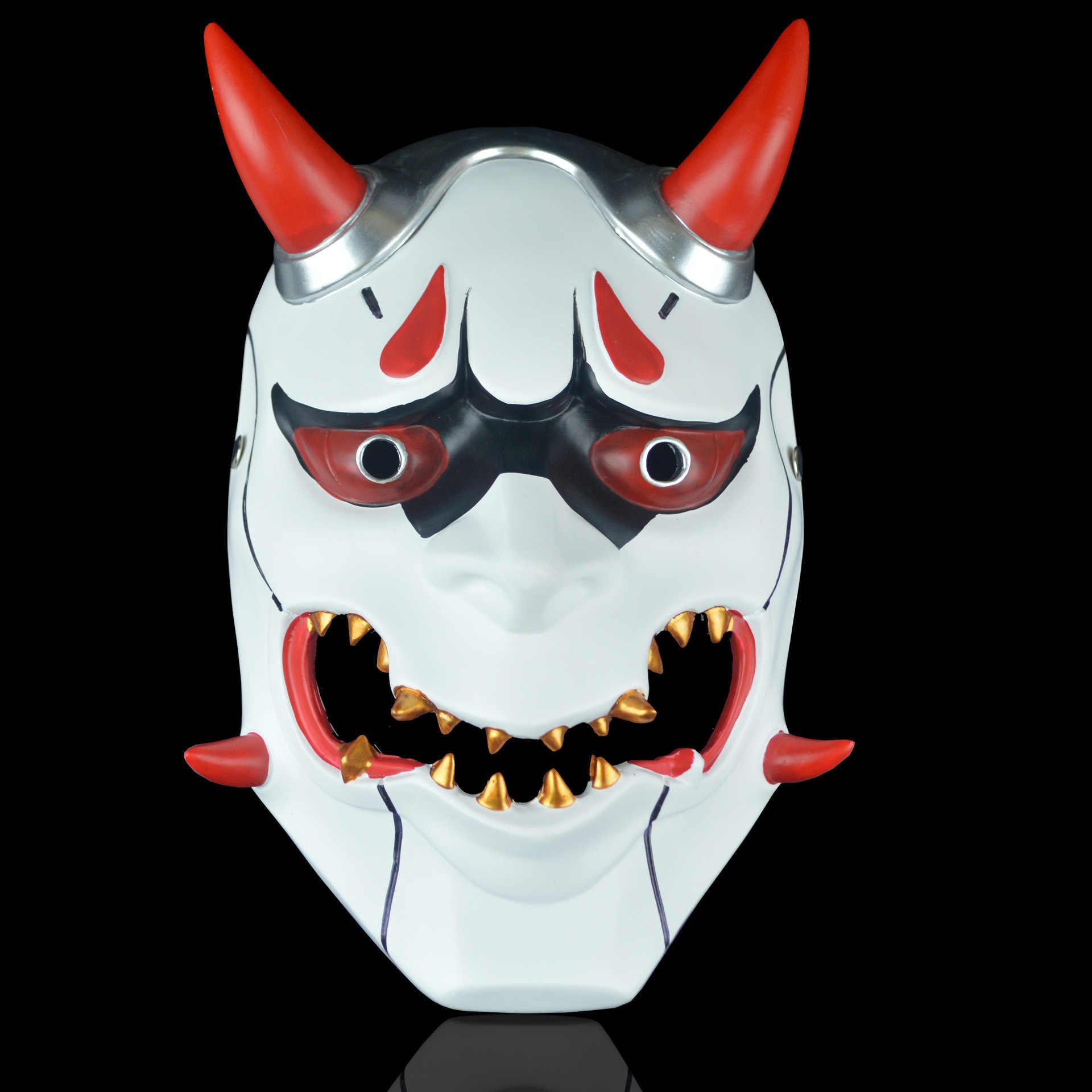 لعبة آه جينجي الجلد Oni تأثيري أقنعة اليابانية Hannya شيطان الشيطان خوذة كامل الوجه الدعائم حزب هالوين يتوهم شبح قناع الدعامة