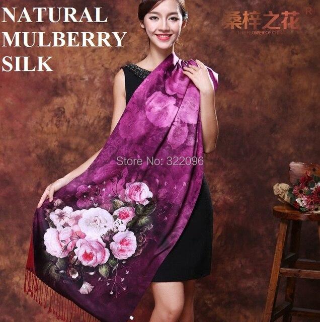 Шанхай История шелка рука чувствовать себя шарф двойных слоев щеткой кашемира женщин silk пашмины кисточкой 190*52 длинные платки enfant fular