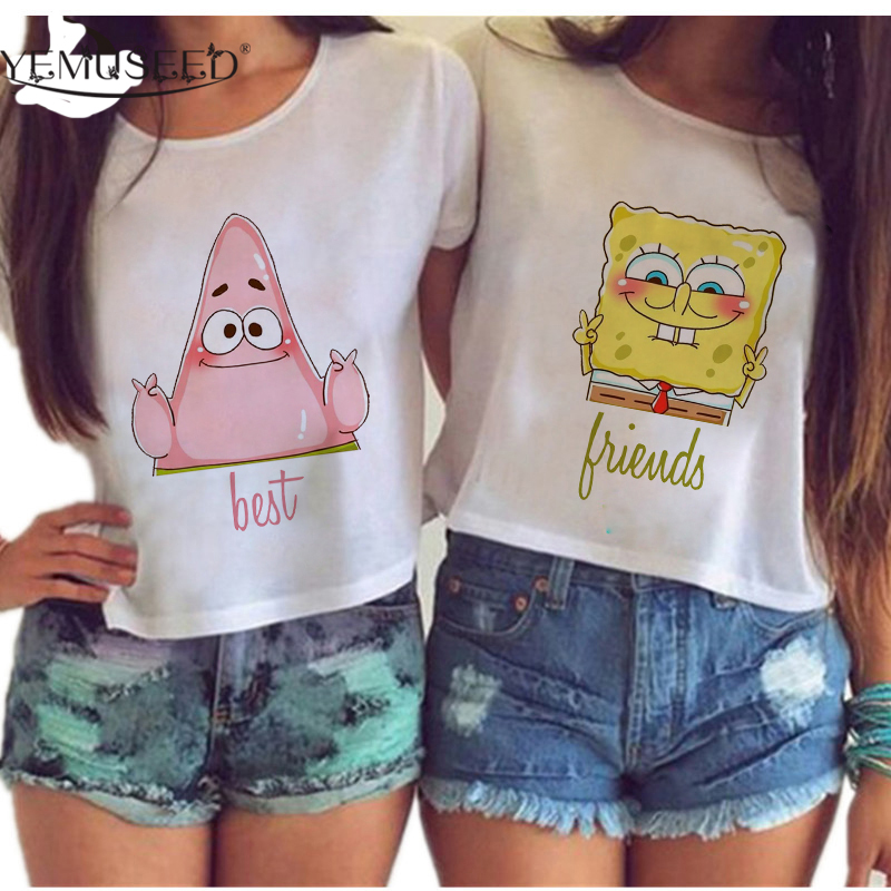 YEMUSEED Women Harajuku Best Friends Couple Crop Tops Cute Cartoon Sexy Kwaii BFF irregular Tumblr Blusas Plus Size WCT33 summer casual bodycon dresses