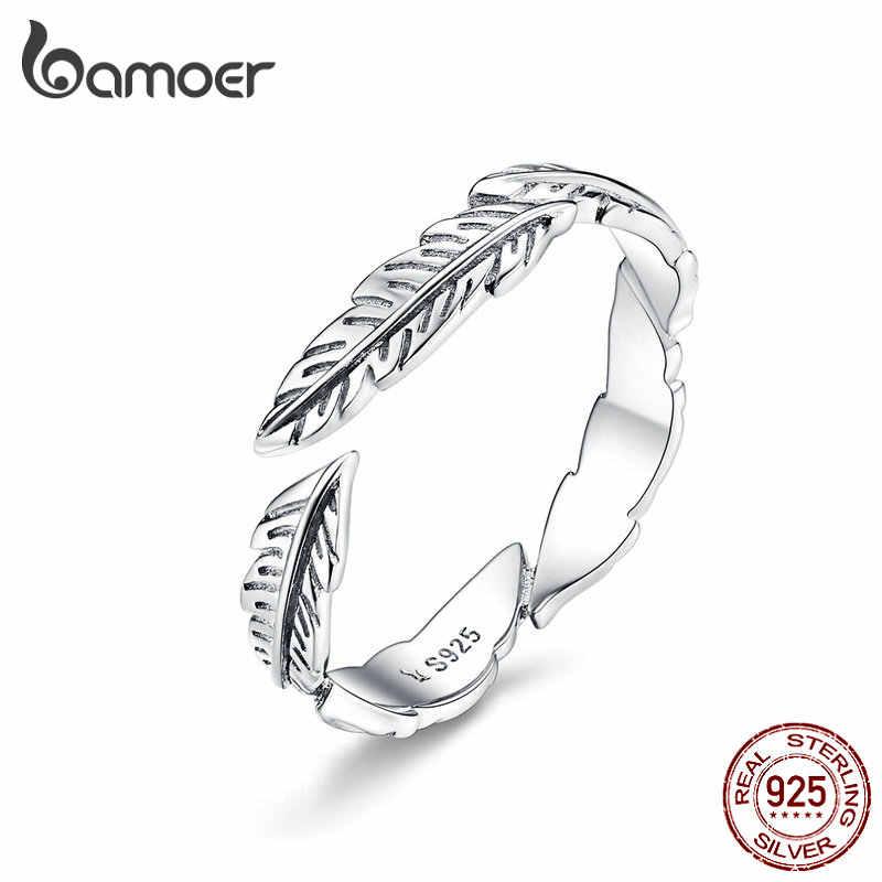 Bamoer 100% Murni 925 Sterling Perak BoHo Gaya Bulu Gratis Ukuran Disesuaikan Jari Cincin untuk Wanita Vintage Perhiasan SCR517
