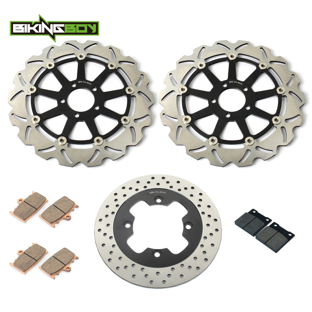 BIKINGBOY Full Set Front Rear Brake Disk Disc Rotor Pad for Kawasaki ZX11 ZZR1100 ZX ZZR 1100 Ninja 93-2001 00 99 98 97 96 95 94 94 95 96 97 98 99 00 01 02 03 04 05 06 new 300mm front 280mm rear brake discs disks rotor fit for kawasaki gtr 1000 zg1000