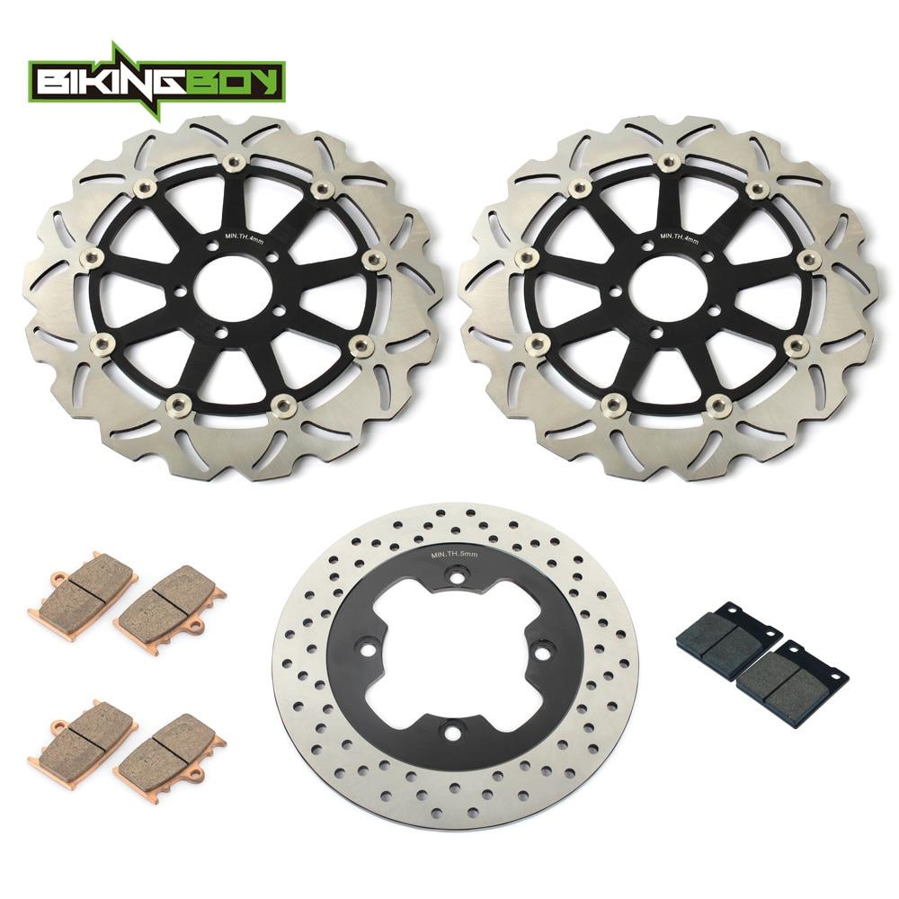 BIKINGBOY Full Set Front Rear Brake Disk Disc Rotor Pad for Kawasaki ZX11 ZZR1100 ZX ZZR 1100 Ninja 93-2001 00 99 98 97 96 95 94