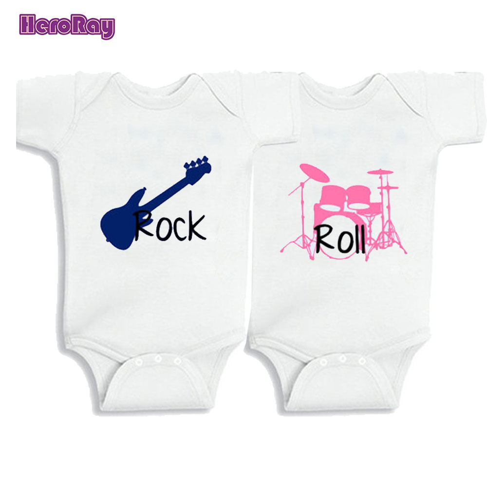 Twins Baby Clothes Rock and Roll 100%Cotton Twins Set of 2 kids Boy/Girl Shirt or Baby Bodysuit 0 12M Newborn Creeper Jumpsuit