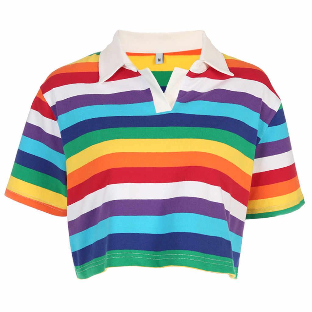 Топ с отложным воротником, женская футболка, короткий рукав, Радужный полосатый принт, короткий кроп-топ koszulka damsk # G7