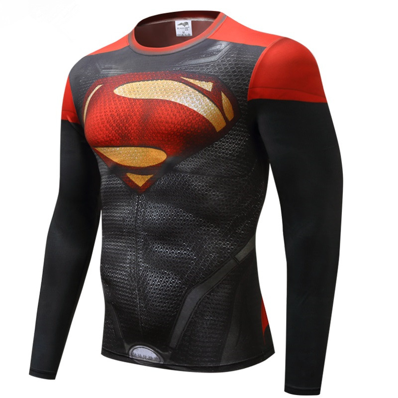 2016New Fashion Fitness Compression Shirt Men Cosplay Male Crossfit Plus Size Bodybuilding Men T shirt 3D Printed Superman Top
