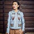 Марка 2016 Мода Настоящее Кожаные Куртки для Мужчин и Женщин Шорты Любовник Окрашены Заклепки Вышивка Geninue Кожаная Куртка Цветочный Пальто