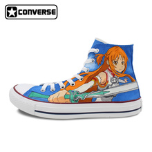 Anime Mujer Hombre Zapatos Converse All Star Sword Art Online SAO Diseño Pintado A Mano Altas Zapatillas de Deporte Superiores Cosplay Regalos