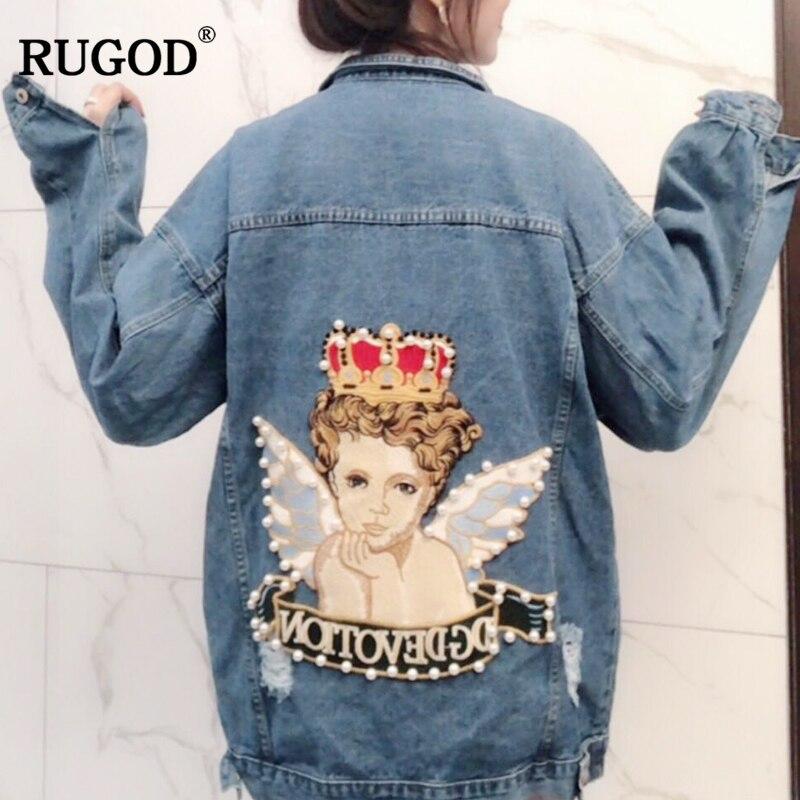 RUGOD Vintage Mode Losse Jean Jassen Vrouwen Lange Mouw Knop Solid Coat Vrouwen Plus Size Angel Patroon Jas Voor Vrouwelijke tops