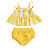 Hot Sale Summer Children Baby Swimwear Bikini Set Straps Stripe Print Tops Briefs Kid Girls Swimsuit Bikini Set