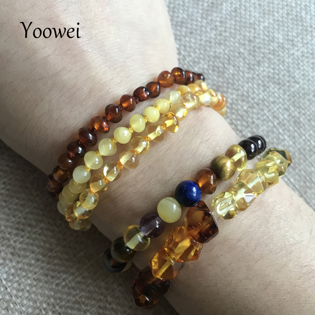 Yoowei Natural Amber Bracelet/Anklet for Gift Women Amber Bracelet Baltic 4mm Small Beads Baby Teething Custom Jewelry Wholesale