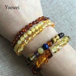 Yoowei natural âmbar pulseira/tornozeleira para presente feminino âmbar pulseira báltico 4mm pequenos grânulos bebê dentição personalizado jóias por atacado